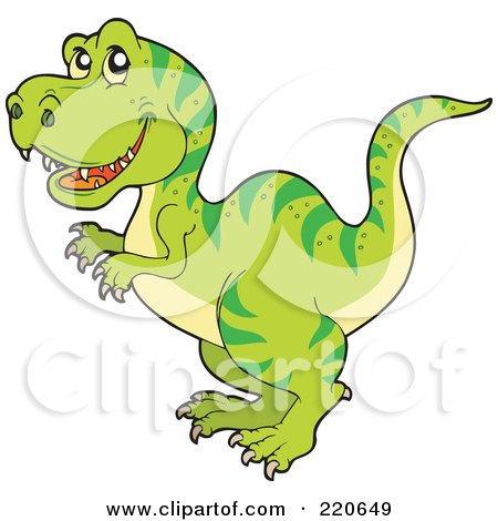 Royalty-Free (RF) Clipart Illustration of a Cute Green Tyrannosaurus Rex Dino With Green Stripes by visekart