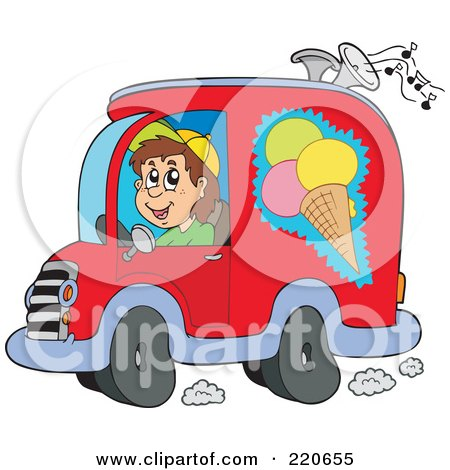 Royalty-Free (RF) Clipart Illustration of a Happy Ice Cream Truck Driver Playing Music by visekart