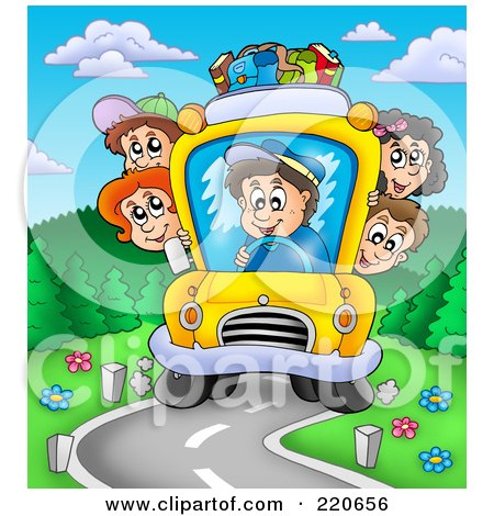 Royalty-Free (RF) Clipart Illustration of a Crowded Bus Of Happy Kids Driving Down A Curving Road by visekart