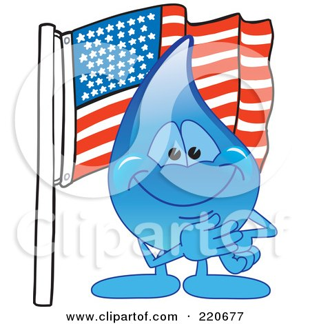 Royalty-Free (RF) Clipart Illustration of a Blue Water Droplet Character With An American Flag by Toons4Biz