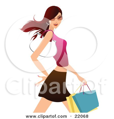 Clipart Illustration Picture of a Confident Young Brunette Caucasian Woman In Shades, A Tank Top And Skirt, Carrying Shopping Bags And A Purse On Her Arm by OnFocusMedia