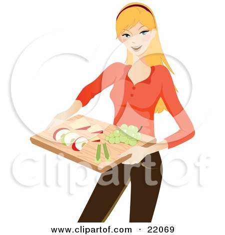 Clipart Illustration Picture of a Healthy Young Blond Caucasian Woman Holding A Tray Of Sliced Apples, Celery, Cheese And Grapes by OnFocusMedia