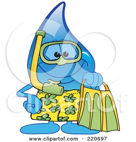 Royalty-Free (RF) Clipart Illustration of a Blue Water Droplet Character In Snorkel Gear by Toons4Biz
