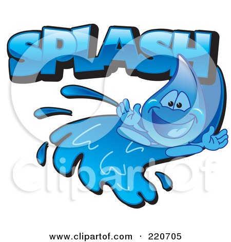 Royalty-Free (RF) Clipart Illustration of a Blue Water Droplet Character Going Down A Water Slide With Splash by Toons4Biz