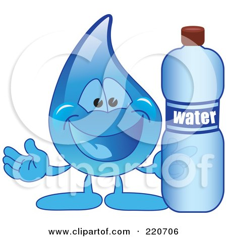 Royalty-Free (RF) Clipart Illustration of a Blue Water Droplet Character Holding A Bottle Of Water by Toons4Biz