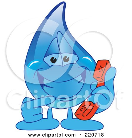 Royalty-Free (RF) Clipart Illustration of a Blue Water Droplet Character Holding A Phone by Toons4Biz