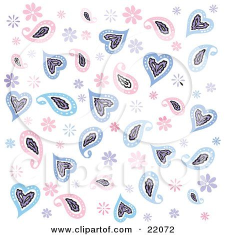 of a background of pink and blue flowers and paisley hearts over white.