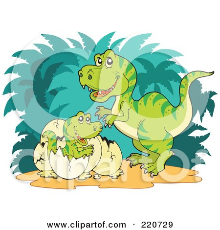 Royalty-Free (RF) Clipart Illustration of a Mother Tyrannosaurus Rex Watching Her Baby Hatch From An Egg by visekart