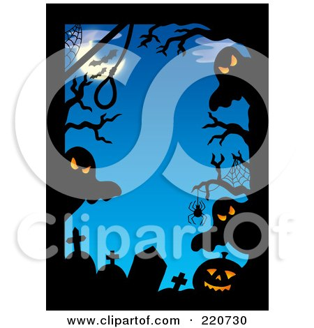 Royalty-Free (RF) Clipart Illustration of a Border Of Spooky Ghosts, Tombstones, Spiders, Bats And Pumpkins Against A Blue Night by visekart