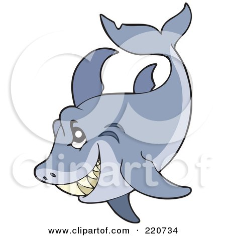 Royalty-Free (RF) Clipart Illustration of a Sneaky Gray Shark by visekart
