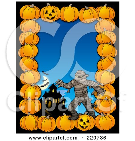 Royalty-Free (RF) Clipart Illustration of a Halloween Border Of Pumpkins, A Haunted House And Mummy Over Blue by visekart