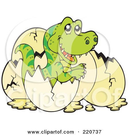 Royalty-Free (RF) Clipart Illustration of a Cute Baby Tyrannosaurus Rex Hatching From An Egg by visekart