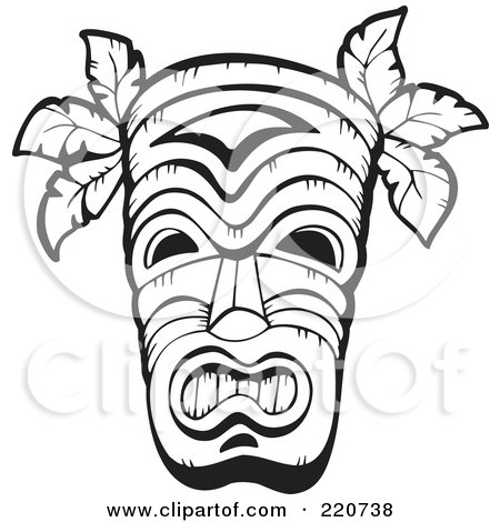 Hawaiian Tribal Tattoos on Of A Black And White Wooden Hawaiian Tribal Mask By Visekart  220738