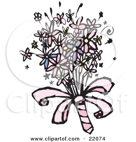 Clipart Picture of a Colorful Spring Bridal Bouquet With Pink, White And Purple Daisy Flowers by Steve Klinkel