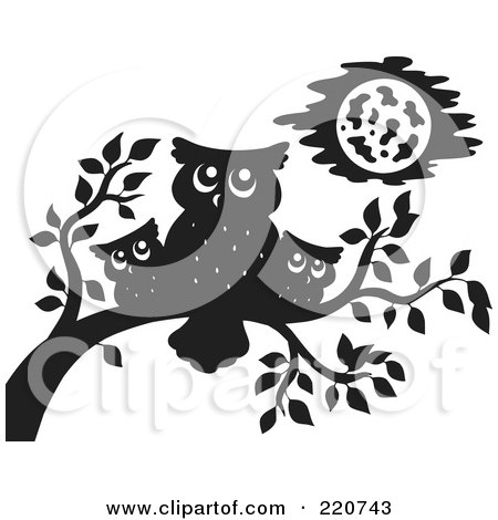 Royalty-Free (RF) Clipart Illustration of a Black Silhouetted Mother And Baby Owls Perched On A Branch by visekart