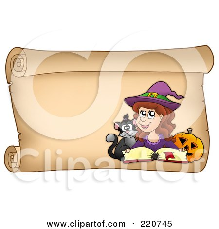 Royalty-Free (RF) Clipart Illustration of a Halloween Witch On A Horizontal Parchment Scroll With A Spell Book, Pumpkin And Cat by visekart