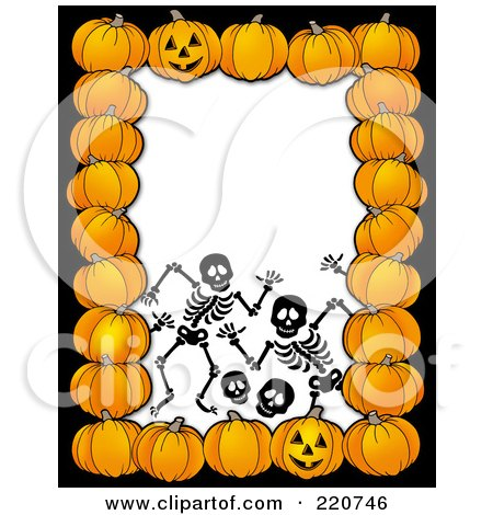 Royalty-Free (RF) Clipart Illustration of a Halloween Border Of Pumpkins Around Creepy Skeletons On White by visekart