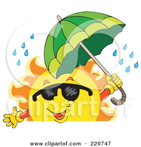 Royalty-Free (RF) Clipart Illustration of a Happy Sun Wearing Shades And Holding An Umbrella In The Rain Over A Blank Sign by visekart