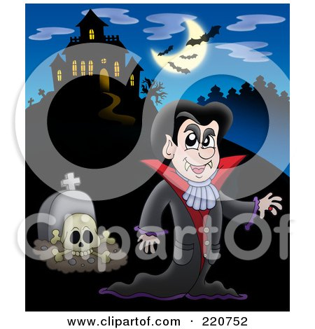 Royalty-Free (RF) Clipart Illustration of a Vampire And Tombstone Near A Haunted House With Bats In The Sky by visekart