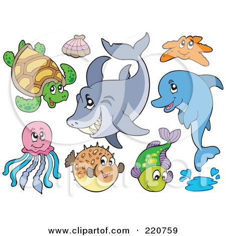 Royalty-Free (RF) Clipart Illustration of a Digital Collage Of Cute Sea Creatures by visekart
