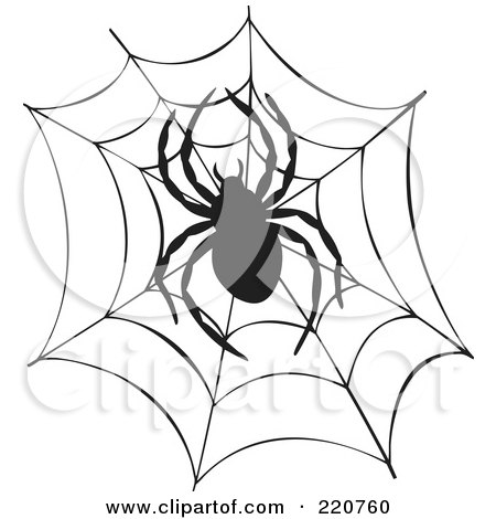 Royalty-Free (RF) Clipart Illustration of a Black Spider And Web Silhouette by visekart