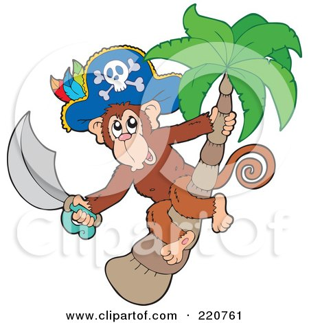 Royalty-Free (RF) Clipart Illustration of a Pirate Monkey Holding A Sword In A Palm Tree by visekart