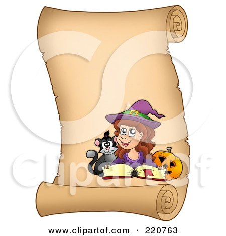 Royalty-Free (RF) Clipart Illustration of a Halloween Witch On A Vertical Parchment Scroll With A Spell Book, Pumpkin And Cat by visekart
