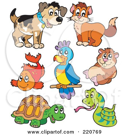 Royalty-Free (RF) Clipart Illustration of a Digital Collage Of Cute Pet Animals by visekart