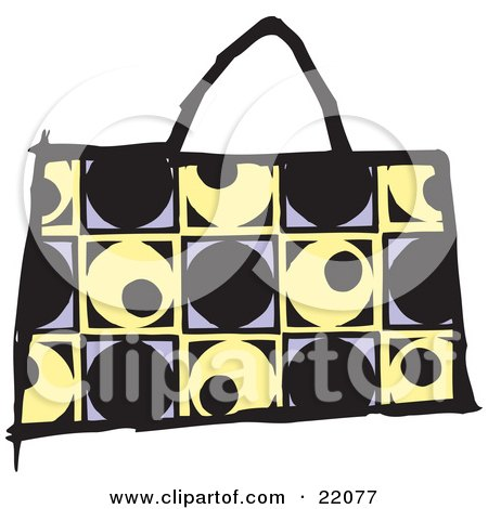 Clipart Picture of a Fashionable Black, Yellow And Purple Designer Handbag Purse With A Circle And Square Pattern by Steve Klinkel