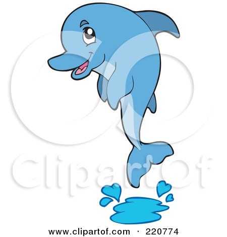Royalty-Free (RF) Clipart Illustration of a Cute Blue Dolphin Leaping Out Of Water And Splashing by visekart