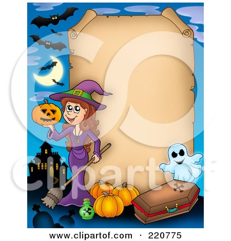 Royalty-Free (RF) Clipart Illustration of a Halloween Parchment Sign Bordered By A Witch, Haunted House, Pumpkins, Coffin And Ghost by visekart