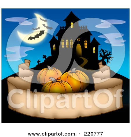 Royalty-Free (RF) Clipart Illustration of Three Pumpkins Over A Parchment Banner Near A Haunted House With Bats In The Sky by visekart