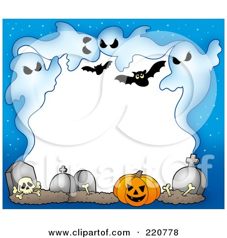 Royalty-Free (RF) Clipart Illustration of a Halloween Border Of Ghouls, Bats, Bones, Tombstones And A Pumpkin With White Space by visekart