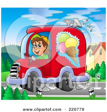Royalty-Free (RF) Clipart Illustration of a Happy Ice Cream Truck Driver Playing Music And Driving by visekart