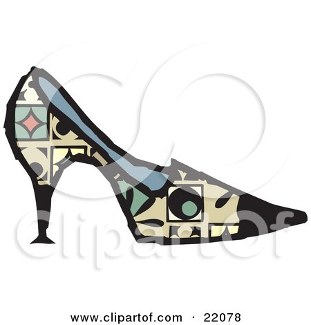 Clipart Picture of a Woman's Designer High Heel Pump Shoe With Green, Red And Yellow Patterns by Steve Klinkel
