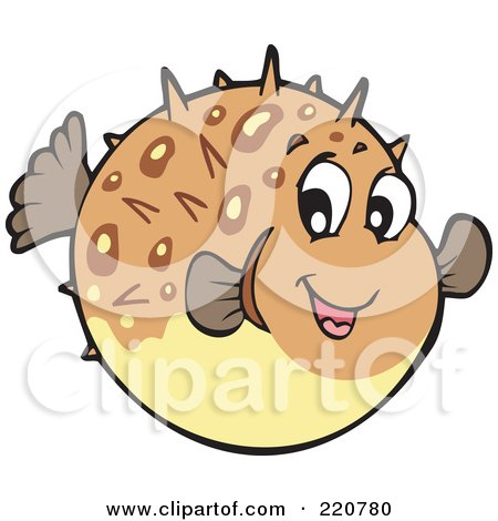 Royalty-Free (RF) Clipart Illustration of a Cute Brown Blowfish by visekart