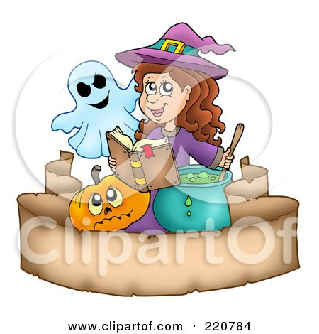 Royalty-Free (RF) Clipart Illustration of a Cute Halloween Witch And A Ghost Reading A Spell Book And Stirring A Potion Over A Parchment Banner by visekart