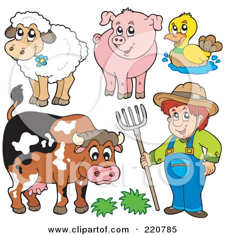 Royalty-Free (RF) Clipart Illustration of a Digital Collage Of A Farmer And His Livestock Animals by visekart