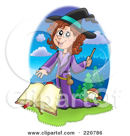 Royalty-Free (RF) Clipart Illustration of a Cute Halloween Witch Waving A Wand Over A Spell Book by visekart