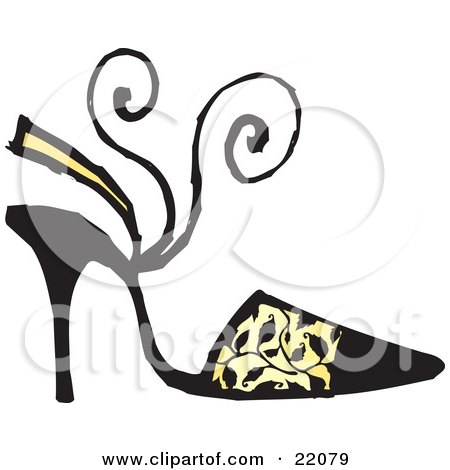 Clipart Picture of a Woman's Black High Heel Shoe With A Sandal Heel Strap And Black Vine Pattern Over Yellow by Steve Klinkel