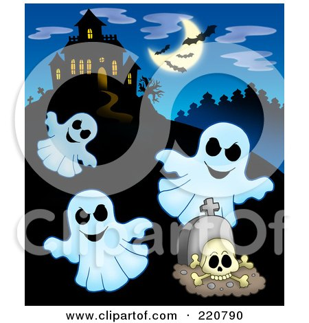 Royalty-Free (RF) Clipart Illustration of Three Ghosts Flying Near A Haunted House With Bats In The Sky by visekart