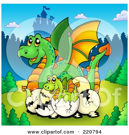 Royalty-Free (RF) Clipart Illustration of a Mother Dragon And Hatching Babies Near A Castle by visekart