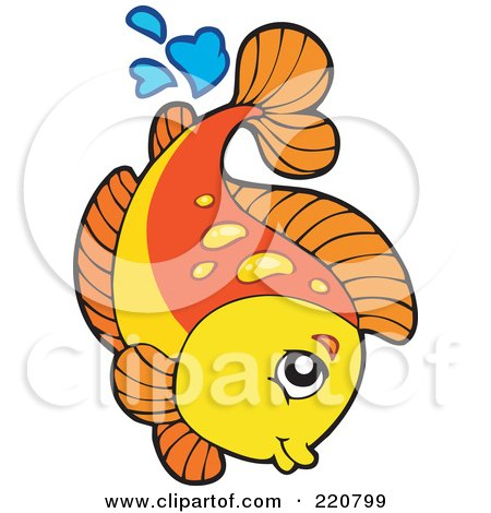 Royalty-Free (RF) Clipart Illustration of a Cute Orange And Yellow Fish Leaping Out Of Water And Splashing by visekart