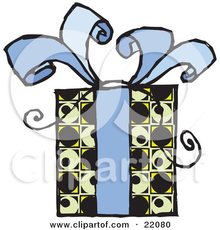 Clipart Picture of a Present Gift Wrapped In A Yellow, Green And Black Patterned Paper And A Blue Bow With Ribbon by Steve Klinkel