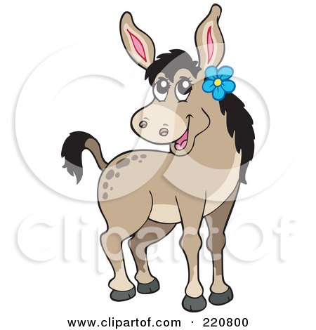 Royalty-Free (RF) Clipart Illustration of a Cute Female Donkey Wearing A Blue Flower By Her Ear by visekart