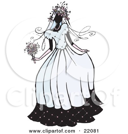 Clipart Picture of a Beautiful Bride Woman In Her Dress, Holding Her Bouquet On Her Wedding Day by Steve Klinkel