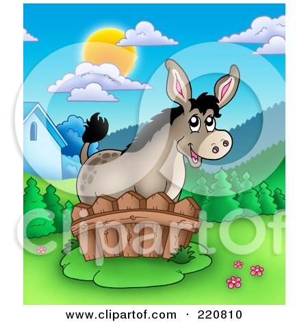 Royalty-Free (RF) Clipart Illustration of a Cute Donkey By A Fence In A Mountainous Farmland Landscape by visekart