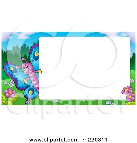Royalty-Free (RF) Clipart Illustration of a Cute Butterfly By A Blank White Sign by visekart