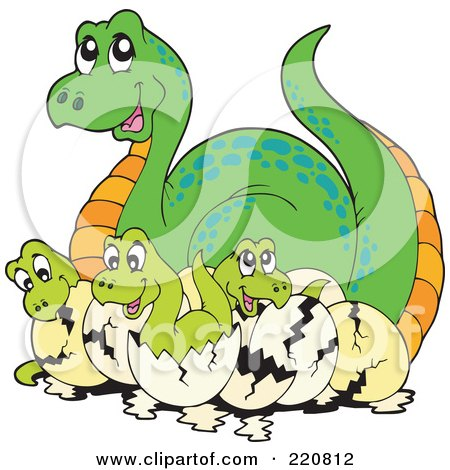 Royalty-Free (RF) Clipart Illustration of a Cute Mother Dinosaur With Hatching Babies by visekart