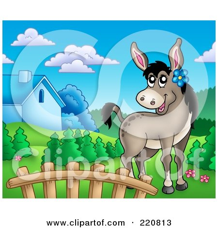 Royalty-Free (RF) Clipart Illustration of a Cute Female Donkey In A Mountainous Farm Landscape by visekart